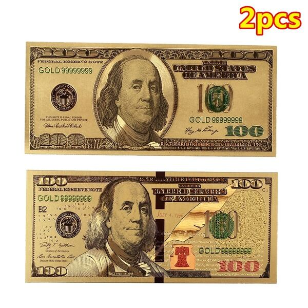 Set 24K Gold Plated US Dollar Gold Banknotes Colored Golden Money Bill Gold Foil Crafts Collection Great Gifts