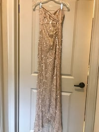NEW Nude Sequin Dress with Side Slit and Lace Back