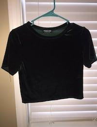 Fashion Nova Velvet Green Crop Top