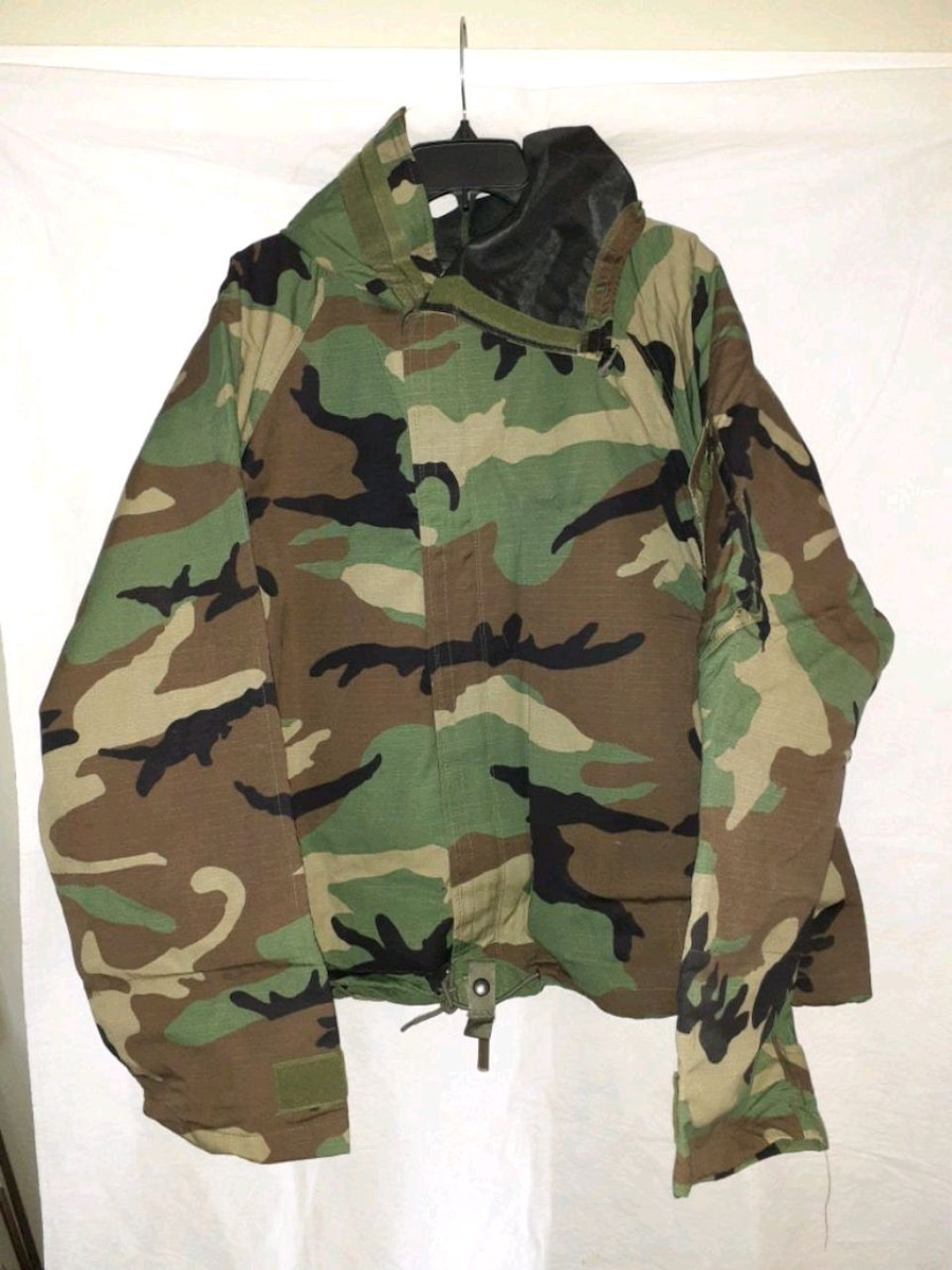 LONG NEW WOODLAND CAMO CHEMICAL PROTECTIVE NFR OVERGARMENT COAT SZ LARGE