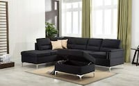 CLEARANCE] Larry Black Sectional with Storage Ottoman Houston, 77036