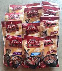 Bundle of 12 packs Purina Alpo TBONZ dog treats, 4.5 oz each pack. Flavors: Filet Mignon, forterhouse and ribeye beef. Monroe, 28110