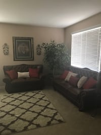 Brown leather 3 piece sofa set San Jose