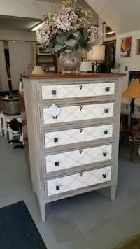white and gray wooden highboy dresser