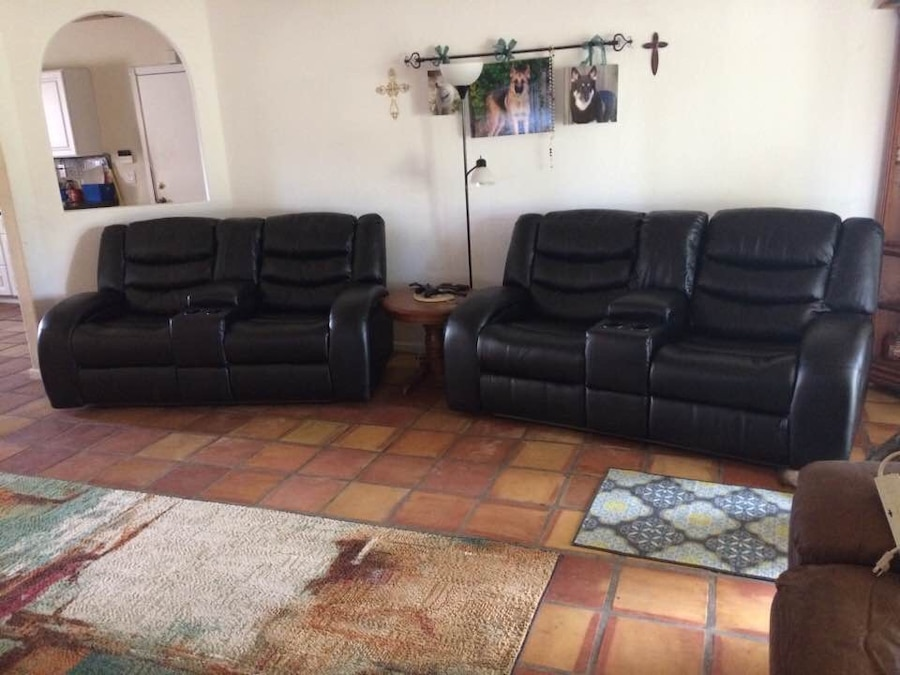 black leather recliner sofa set usag vendre letgo rh fr letgo com