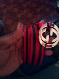 red and green Gucci leather belt with gold-colored buckle Houston, 77021
