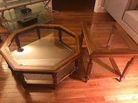 Two brown wooden framed glass-top tables set 41 km