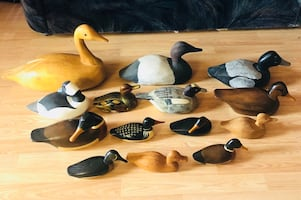 Vintage Painted Carved Wood Ducks Decoy by master carver Jim Harkness