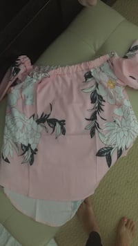 pink and green floral print textile Lincoln, L0R