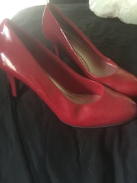 pair of red leather heeled shoes Edmonton, T6L