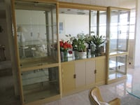 brown wooden framed glass display cabinet Weston