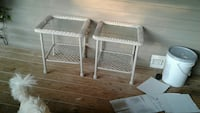 two glass-top side tables with wicker base