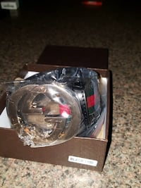 brown, green, and red Gucci belt in box
