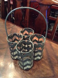 Blue Chevron Metal 4 Bottle Wine Holder Hutto, 78634