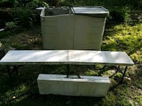 Storage bin and folding tables