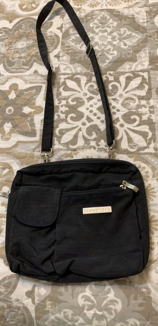 Cute Black fabric shoulder travel bag 0