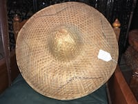 """Vintage 1960s Vietnamese Chinese Palm Leaf Traditional Weave Rattan Hat (23"""" Diameter)  E FAYETTEVLLE, 28301"""