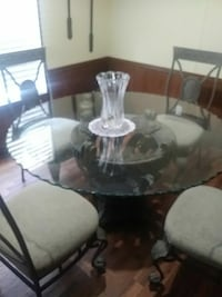 round glass top table with four chairs dining set Ridgeland, 29936