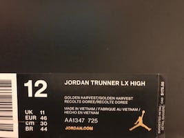 New in box Jordan Trunner LX High Golden Harvest (Size 12)