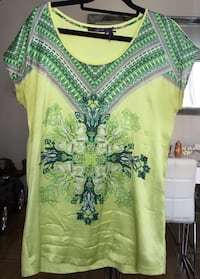 Green, white, and yellow floral scoop-neck cap-sleeved dress Лос-Анджелес