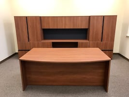 Office wooden furniture.  Table 71x41 File cabinet 142x24x64