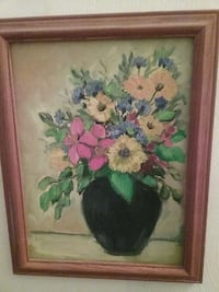 Flowers in vase painting with brown wooden frame