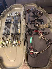 Black and gray compound bow set