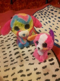 two red and yellow animal plush toys Edmonton, T5A 2A9
