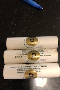 3 Rolls of  2006 Brilliant, UNC Denver Mint Five Cent U.S. coins