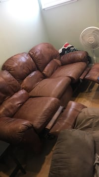 Dual Brown Leather Reclining Couch Denver, 80205