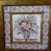 Gorgeous large framed flower and vase picture.  McElhattan, 17745