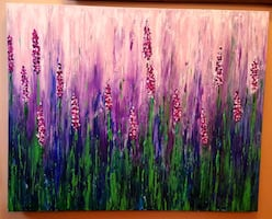 30x24 inches glitter lavender abstract painting