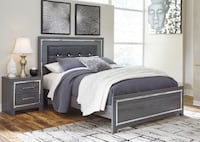 Gray Queen Panel Bed-U&U Home Budget Furniture  Rahway