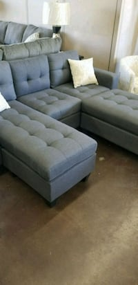 Grey fabric sectional for smaller apartments