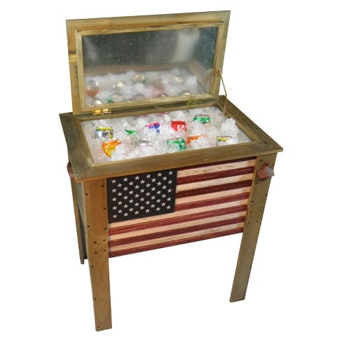 Wooden American Flag Cooler 57 Qt  NEW $75