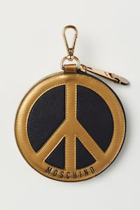 H&M x MOSCHINO Peace Sign Round Wallet Zip Bag Charm Gold Black Logo