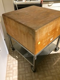 Butcher block with stainless steel base. Price negotiable Surrey, V3Z 9N5