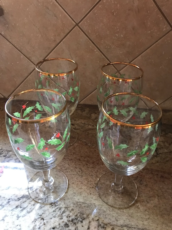 Used Four Green Red Clear Glass Short Stem Wine Glasses For Sale In