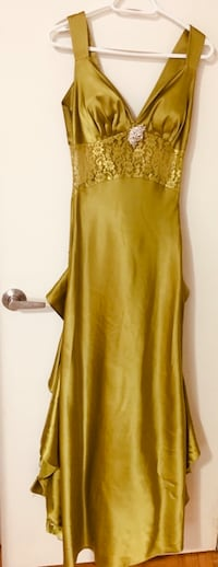 Olive green satin prom dress