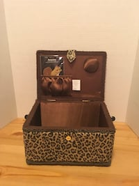 Reduced Vintage Animal Print Sewing Box with Woven Handle Edmonton, T6E 1P3