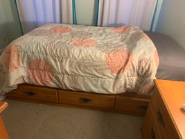 Full wooden twin bedroom set with mattress