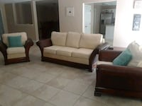 white and brown leather couch and armchair Port St. Lucie, 34953