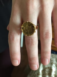 Gold Coin Ring 14K size 7 Price Firm Toronto, M6B 2A8