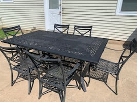 Outdoor patio set Metal table 6 metal chairs with umbrella Stand Included