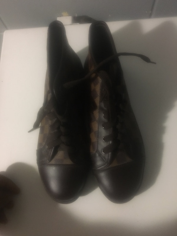 b7dfcef9576 Used Original brown Louis Vuitton high top sneakers for sale in ...