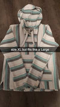 womans white and blue stripe pullover hoodie