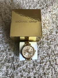 round gold Michael Kors analog watch with link bracelet and box