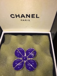 Chanel gripoix purple and gold flower brooch with iconic cc logo 39 km