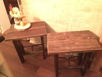 Two rustic end tables nightstands