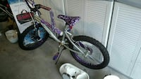 gray and purple BMX bicycle
